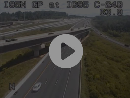 Traffic Cam I-95 N of O'Donnell St, S Turn (C041) MP 57.7 Player